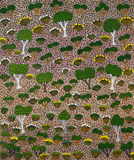 Dossier de presse | 2399-01 - Communiqué de presse | My Country: Design With Origin - Bay Gallery Home - Residential Interior Design - Bay Gallery Home, My Country GREEN wallpaper, detail. From an original Australian Aboriginal artwork. - Crédit photo : Bay Gallery Home<br>