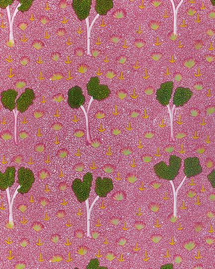 Dossier de presse | 2399-01 - Communiqué de presse | My Country: Design With Origin - Bay Gallery Home - Residential Interior Design - Bay Gallery Home, My Country PINK wallpaper, detail. From an original Australian Aboriginal artwork. - Crédit photo : Bay Gallery Home