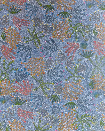 Dossier de presse | 2399-01 - Communiqué de presse | My Country: Design With Origin - Bay Gallery Home - Residential Interior Design - Bay Gallery Home, My Country BLUE wallpaper, detail. From an original Australian Aboriginal artwork. - Crédit photo : Bay Gallery Home