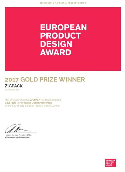Press kit | 2455-01 - Press release | ZIGPACK - Xavier Bernis - Graphic Design - Photo credit: ePDA GOLD PRIZE WINNER