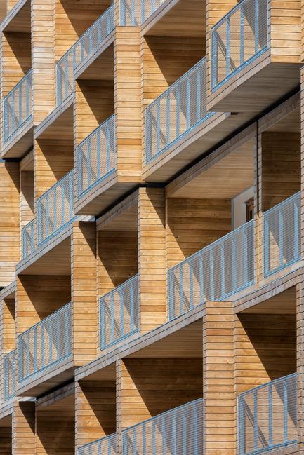 Dossier de presse | 2388-01 - Communiqué de presse | LESS - L'amplificateur urbain - AAVP ARCHITECTURE - Architecture résidentielle - Détail de la façade et des balcons - Crédit photo : © Pierre L'Excellent