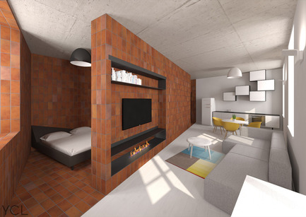 Dossier de presse | 2506-01 - Communiqué de presse | Bazillion Apartment: Warm and Cold - AGROB BUCHTAL - Design d'intérieur résidentiel - 3D Rendering - Crédit photo : YCL Studio, Vilnius