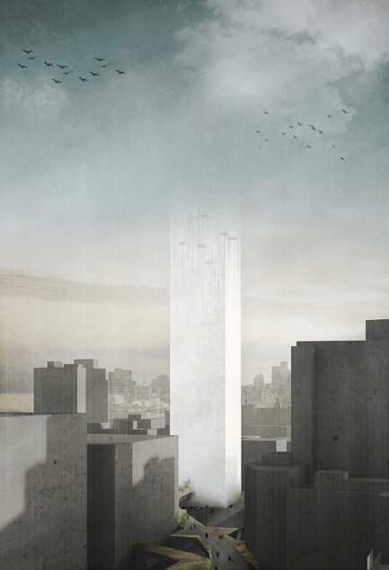 Dossier de presse | 1127-13 - Communiqué de presse | Winners 2017 eVolo Skyscraper Competition - eVolo Magazine - Competition - In Two Minds: Magnetic Cemetery - honorable mention - Crédit photo : Marine Joli, Judith Haggiag
