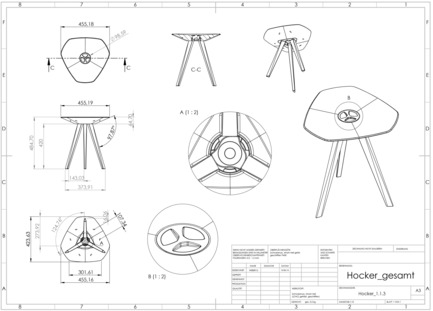 Press kit | 2537-01 - Press release | Triangular - DWD - Dominik Weber Design - Industrial Design - technical drawing, stool - Photo credit: picture by Dominik Weber, 2016