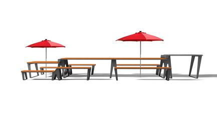 Dossier de presse | 1076-10 - Communiqué de presse | Exposition des finissants - Faculté de l'aménagement de l'Université de Montréal - Évènement + Exposition - 1642 — Gamme de mobilier urbain pour le 375e anniversaire de Montréal<br>Dans le cadre du 375e anniversaire de Montréal, en partenariat avec Loblaw, une table de pique-nique modulable a été conçue comme legs à Montréal, dans le but de nourrir la joie de vivre des Montréalais en leur permettant de profiter pleinement de leur ville et de ses espaces. Conçue pour se régler à différentes hauteurs, la table offre un niveau inférieur (pour les enfants) et un niveau supérieur (espace BBQ) afin de créer une ambiance dynamique et conviviale, rassemblant jusqu'à 20 personnes. Faite de cèdre rouge de l'Ouest et d'une structure en acier pliée, la table a été pensée pour un usage à long terme par la Ville de Montréal.&nbsp;<br> - Crédit photo : Isabelle Vo et Émilie Proulx