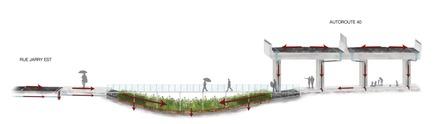 Dossier de presse | 1076-10 - Communiqué de presse | Exposition des finissants - Faculté de l'aménagement de l'Université de Montréal - Évènement + Exposition - Il pleut sur la ville<br>La nouvelle porte d'entrée du quartier Saint-Michel à Montréal se trouve au croisement des rues Jarry, Crémazie et de l'autoroute&nbsp;40, à proximité du Parc Frédéric Back, une référence en matière d'innovation environnementale. Entouré de nombreux éléments générateurs de polluants, le projet d'aménagement se veut une extension, une vitrine de la transformation opérée par le Complexe environnemental de Saint-Michel, se prolongeant le long de la rue Jarry Est. Au cœur du carrefour routier, un grand bassin de rétention récolte les eaux de ruissellement des voies environnantes et traite les polluants et les sels de déglaçage. Cet immense ouvrage technique est la pièce maîtresse d'un aménagement urbain pacifié qui marque le tournant environnemental de la ville. Lorsqu'il pleut sur la ville, son utilité est révélée.<br> - Crédit photo : Catherine Foisy et Catherine Lessard