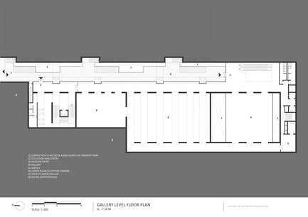 Press kit | 2551-01 - Press release | The Lima Art Museum New Contemporary Art Wing - AYBARS ASCI, Efficiency Lab for Architecture PLLC - Art - Gallery Level Floor Plan - Photo credit: Efficiency Lab for Architecture PLLC