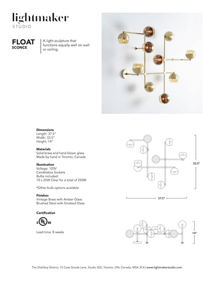 Press kit | 1665-02 - Press release | Lightmaker Studio Makes U.S. Debut at ICFF NY 2017 - Lightmaker Studio - Lighting Design - Float Wall Sconce Tearsheet - Photo credit: Naomi Finlay