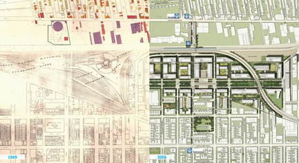 Press kit | 2366-01 - Press release | A New Viaduct for the MIL Campus of the Université de Montréal - civiliti - Urban Design - Map Montage: Railway Yard (1949) and Preliminary Campus Master Plan (2006) - Photo credit: archives civiliti