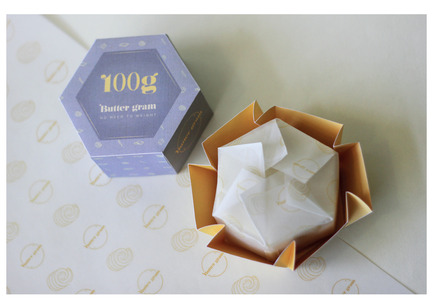 Press kit | 2472-01 - Press release | Award Winning Product Package Design: Butter gram - Axiom Consulting - Product - Butter gram Origami Base - Photo credit: Team Axiom