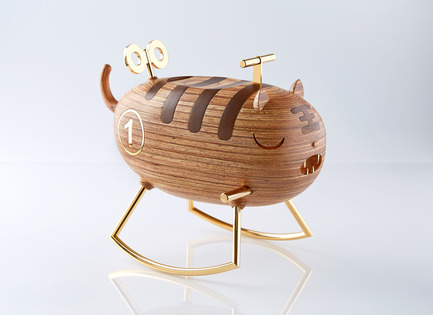 Press kit | 2541-01 - Press release | The Endangered - Trigger Design - Industrial Design - The Endangered: Tiger<br>345(L) X 210(W) X 283(H) mm<br>Recycled Heveatech wood, matte. Chromed gold on aluminum<br>Scent: Zanzibar Mist by AllSense Scent Lab - Photo credit: Cause &amp; Effect Studio