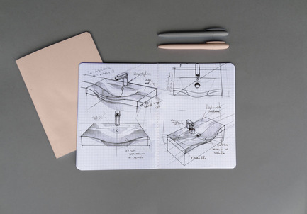 "Press kit | 2555-03 - Press release | New Washbasins Collection ""Today"" Designed by Meneghello e Paolelli - Arbi Arredobagno - Product - In the image, sketches by Meneghello Paolelli Associati for the new washbasins collection Today, designed for Arbi Arredobagno and winner of the Award ""Red Dot Award 2017: Best of the Best"" - Photo credit: Arbi Arredobagno"