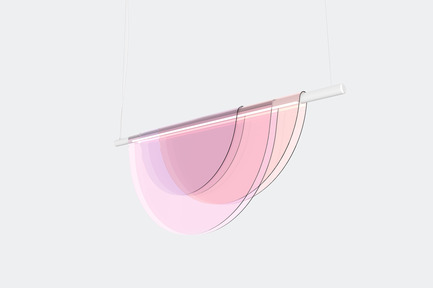 Press kit | 2351-01 - Press release | New Lighting Collection by ANONY - ANONY - Lighting Design - Dawn | Linear Suspension Light | Peach Tones - Photo credit: ANONY