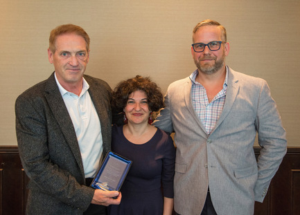 Press kit | 1615-04 - Press release | IESBC Announces the 2017 'Vision Award' Recipients - IESBC - Lighting Design -   Michael Graham (LH), Ellie Niakan (Middle), &amp; James Holtrop (RH - IESBC board member) <br>   - Photo credit: Michael Young<br>