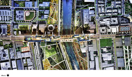 Press kit | 2266-02 - Press release | MetropolitanmomentuM Unveils Two Projects that Reimage the Los Angeles River - MetropolitanmomentuM - Landscape Architecture - Site Plan-LA River Habitable Bridge - Photo credit: MetropolitanmomentuM