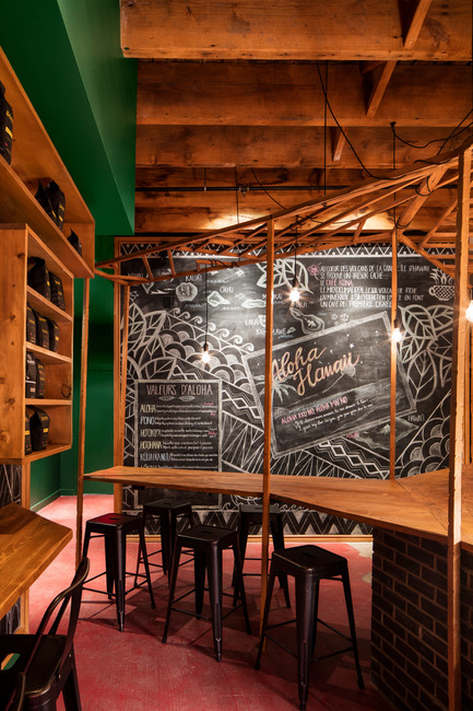 Dossier de presse | 760-14 - Communiqué de presse | Aloha Espresso Bar:Café for the New Flavors and History Buffs - Jean de Lessard, Designers Créatifs - Commercial Interior Design - Crédit photo : Adrien Williams