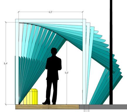 Press kit | 2664-01 - Press release | La Vague - Arcadia Studio - Urban Design -  74 wooden frames that rotate in three degree intervals  - Photo credit: Camille Zaroubi
