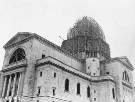 Press kit | 1023-04 - Press release | La grande exposition «De Ville-Marie à Demain » - Gestion Villes du Futur - Event + Exhibition - St-Joseph Oratory in 1937, construction of the dome - Photo credit: St-Joseph Oratory