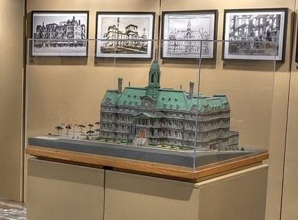 Press kit | 1023-04 - Press release | La grande exposition «De Ville-Marie à Demain » - Gestion Villes du Futur - Event + Exhibition - Scale model of Montreal City Hall - Photo credit: City of Montreal