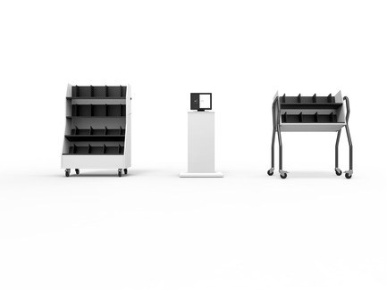 Press kit | 2457-01 - Press release | Nedap Transforms Libraries with Intelligent Shelves - Nedap Library Solutions - Industrial Design - Nedap Intelligent Shelves in a furniture pack (Trolleys and InfoColumn) - Photo credit: Rudi Heersink - Nedap Library Solutions