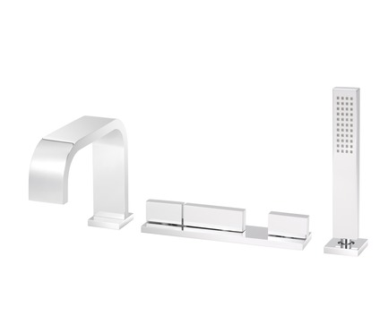 Press kit | 2505-01 - Press release | Innovative Belgian Faucet Design - Co.Studio - Product - Faucet set for bath<br> - Photo credit: Bernard Gauthier<br>