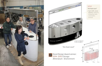 "Dossier de presse | 2707-01 - Communiqué de presse | EcoTrio® Commercial Recycling Bins - EcoTrio®, LLC - Industrial Design -   EcoTrio® ""The Food Court"" Commercial Recycling Bin - with Sstl Fabrication Team:  Wayne Chiem (front right), Huey Nguyen (left back) Cuong Nguyen (right back)  (US Pat. No. D766 532 © 2016 ecotrio®, llc)<br> - Crédit photo : Trung Nguyen"