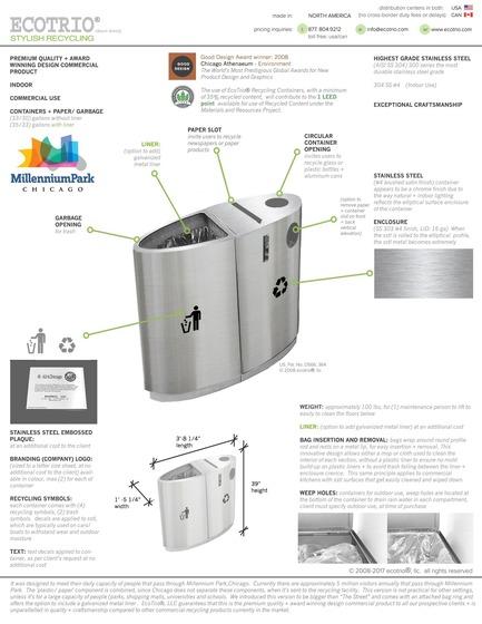 "Press kit | 2707-01 - Press release | EcoTrio® Commercial Recycling Bins - EcoTrio®, LLC - Industrial Design -  EcoTrio® ""The Millennium"" Commercial Recycling Bin - Product Data + Specifications(US Pat. No. D566 364 © 2008 ecotrio®, llc) - Photo credit: Deborah Kang"
