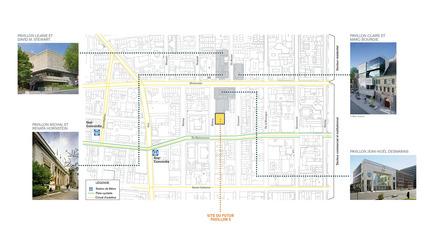 Dossier de presse | 696-09 - Communiqué de presse | Manon Asselin Architecte et Jodoin Lamarre Pratte Architectes en consortium gagnent le concours d'architecture du Musée des beaux-arts de Montréal pour concevoir son nouveau pavillon 5 - Musée des beaux-arts de Montréal (MBAM) - Concours - Plan du secteur