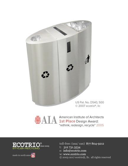 "Press kit | 2707-01 - Press release | EcoTrio® Commercial Recycling Bins - EcoTrio®, LLC - Industrial Design - EcoTrio® ""The Street - I"" Commercial Recycling Bin - Cover (US Pat. No. D540 500 © 2007 ecotrio®, llc) - Photo credit: Deborah Kang"
