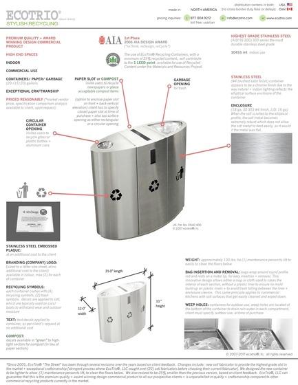 Press kit | 2707-01 - Press release | EcoTrio® Commercial Recycling Bins - EcoTrio®, LLC - Industrial Design - Photo credit: Deborah Kang
