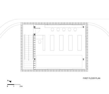 Dossier de presse | 2560-01 - Communiqué de presse | 'Microlibrary Bima': 2000-Ice-Cream-Bucket-Project - SHAU - Institutional Architecture - Plan of Microlibrary Bima, first floor - Crédit photo : SHAU