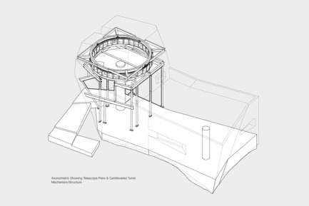 Press kit | 2693-01 - Press release | Gemma Observatory - Anmahian Winton Architects - Institutional Architecture - Axonometric showing telescope piers and cantilevered turret mechanism/structure<br><br> - Photo credit: Anmahian Winton Architects