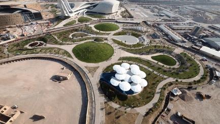 Dossier de presse | 2404-02 - Communiqué de presse | Oxygen Park, Education City, Doha - Qatar Foundation, AECOM - Institutional Architecture - Aerial Photo - Crédit photo : MAN