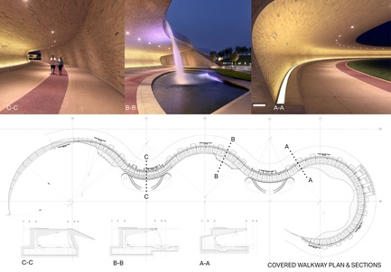 Press kit | 2404-02 - Press release | Oxygen Park, Education City, Doha - Qatar Foundation, AECOM - Institutional Architecture - Covered WalkwayPlan and Sections - Photo credit: AECOM