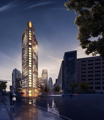 Press kit | 2298-01 - Press release | The Monroe Blocks, a Major Mixed-Use Development in the Heart of Downtown Detroit - Schmidt Hammer Lassen Architects - Urban Design - SHL_Detroit Monroe Blocks_Housing Tower - Photo credit: Schmidt Hammer Lassen Architects