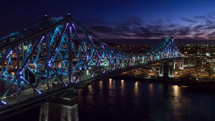 Press kit | 1089-02 - Press release | Illumination of the Jacques-Cartier Bridge | Creating the World's Most Connected Bridge - Moment Factory - Multimedia Design - Jacques Cartier Bridge Interactive Illumination_Living Connections<br> - Photo credit: Moment Factory