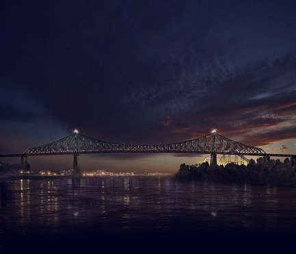 Press kit | 1089-02 - Press release | Illumination of the Jacques-Cartier Bridge | Creating the World's Most Connected Bridge - Moment Factory - Multimedia Design -  Jacques Cartier Bridge Interactive Illumination (Render)_The Bridge Awakes With Light.<br>WHEN: SUNSET TO DUSK<br>The bridge warms itself up in a slow dance of dots whose colour pull from the colour of the sky above. At dusk, when the sky is darken enough to display the full power of the lights, the bridge comes to life in a four minute dance of light, climaxing with a reveal of the new colour of the day. - Photo credit: Moment Factory