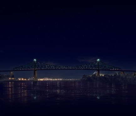 Press kit | 1089-02 - Press release | Illumination du pont Jacques-Cartier | Le pont le plus connecté au monde - Moment Factory - Multimedia Design -  Jacques Cartier Bridge Interactive Illumination (Render)_Hourly Data Show_Intro<br>WHEN: EVERY HOUR, ON THE HOUR AFTER DUSK<br>The bridge translates the Montreal data it has collected over the course of the day into a series of data visualisations. Pulling from a wide variety of data sources, including weather, traffic, news and social media, every show is updated in real-time and is totally unique. The ever-changing content makes the Jacques Cartier Bridge a barometer of Montreal life. - Photo credit: Moment Factory