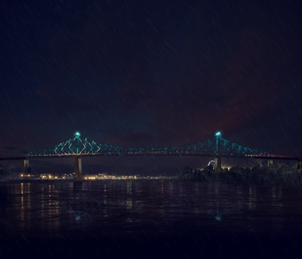 Press kit | 1089-02 - Press release | Illumination du pont Jacques-Cartier | Le pont le plus connecté au monde - Moment Factory - Multimedia Design -  Jacques Cartier Bridge Interactive Illumination (Render)_Hourly Data Show_Weather<br>WHEN: EVERY HOUR, AS PART OF THE HOURLY DATA SHOW<br>Influenced by meteorological aspects of the day, such as the temperature, wind and humidity, the bridge reflects the day's weather. - Photo credit: Moment Factory