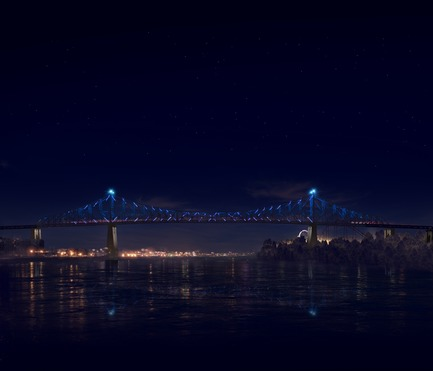 Press kit | 1089-02 - Press release | Illumination of the Jacques-Cartier Bridge | Creating the World's Most Connected Bridge - Moment Factory - Multimedia Design -  Jacques Cartier Bridge Interactive Illumination (Render)_Hourly Data Show_Flow<br>WHEN: EVERY HOUR, AS PART OF THE HOURLY DATA SHOW<br>For the second part of the hourly show, the light illustrates the amount, density and movement of traffic going in and out of Montreal over the course of the day.<br>  - Photo credit: Moment Factory