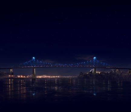 Dossier de presse | 1089-02 - Communiqué de presse | Illumination du pont Jacques-Cartier | Le pont le plus connecté au monde - Moment Factory - Design multimédia - Illumination interactive du pont Jacques-Cartier(Rendu)_Spectacle de l'heure_Trafic<br>QUAND : À CHAQUE HEURE, DANS LE « SPECTACLE DE L'HEURE »<br>Durant la deuxième partie du Spectacle de l'heure, la lumière illustre la quantité, la densité et le mouvement du trafic entrant et sortant de Montréal pendant la journée.<br>   - Crédit photo : Moment Factory