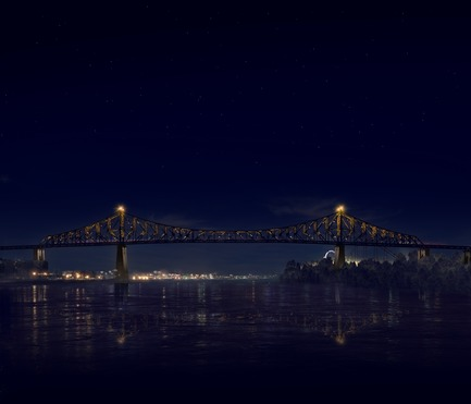 Press kit | 1089-02 - Press release | Illumination of the Jacques-Cartier Bridge | Creating the World's Most Connected Bridge - Moment Factory - Multimedia Design -  Jacques Cartier Bridge Interactive Illumination (Render)_Hourly Data Show_Media<br>WHEN: EVERY HOUR, AS PART OF THE HOURLY DATA SHOW<br>Next, the bridge is taken over by the topics discussed by the Montreal Media. As the visualisation reveals itself, we see the variety and intensity of the seven topics ofMontreal conversation; one colour for each topic. The more of a colour you see, the more it appeared in the media. Slowly, the day's most-discussed topic takes over the bridge, showcasing what was important to Montrealers that day.<br>  - Photo credit: Moment Factory