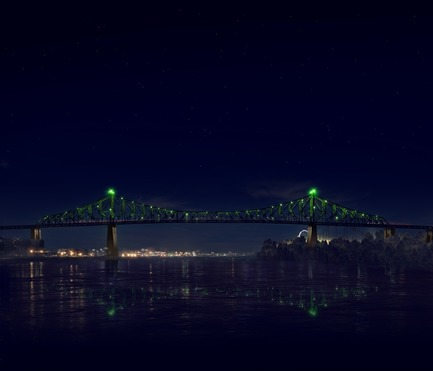 Press kit | 1089-02 - Press release | Illumination of the Jacques-Cartier Bridge | Creating the World's Most Connected Bridge - Moment Factory - Multimedia Design -  Jacques Cartier Bridge Interactive Illumination (Render)_Hourly Data Show_Mood<br>WHEN: EVERY HOUR, AS PART OF THE HOURLY DATA SHOW<br>For the final visualisation, the mood of the city takes over the bridge. Happy and joyful or downbeat and gloomy, the bridge reflects, in real-time, how the city expresses itself online. - Photo credit: Moment Factory