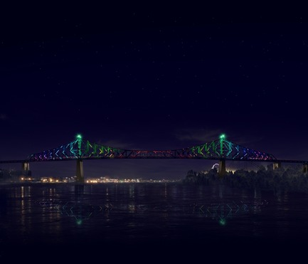 Press kit | 1089-02 - Press release | Illumination of the Jacques-Cartier Bridge | Creating the World's Most Connected Bridge - Moment Factory - Multimedia Design -  Jacques Cartier Bridge Interactive Illumination (Render)_Midnight Show<br>WHEN: MIDNIGHT<br>The bridge bursts into full life to signify the changing of the day. With a new day comes a new colour so the bridge cycles through all 365 colours of the chromatic calendar searching for its new identity. It explores wave after wave of colour until finally, the bridge has its new look for a new day. - Photo credit: Moment Factory