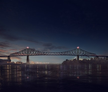 Press kit | 1089-02 - Press release | Illumination of the Jacques-Cartier Bridge | Creating the World's Most Connected Bridge - Moment Factory - Multimedia Design -  Jacques Cartier Bridge Interactive Illumination (Render)_Good Morning<br>WHEN: JUST BEFORE DAWN<br>At dawn's first light, the bridge's exterior skin re-awakens to greet the sun. Taking its colour directly from the sky overhead, the bridge twinkles in the morning light, waving a subtle 'good morning' to Montreal's early risers.<br><br>  - Photo credit: Moment Factory
