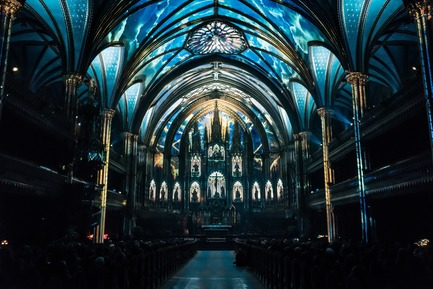 Press kit | 1089-03 - Press release | AURA Creates Awe-Inspiring Experience in the Heart of a Celebrated Historic Cathedral - Moment Factory - Multimedia Design -  Aura_Show_Part2 - Photo credit: Moment Factory
