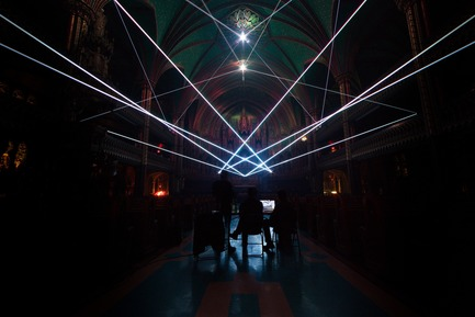 Press kit | 1089-03 - Press release | AURA Creates Awe-Inspiring Experience in the Heart of a Celebrated Historic Cathedral - Moment Factory - Multimedia Design -  Aura_Process_Integration_Lasers  - Photo credit: Moment Factory