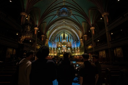 Press kit | 1089-03 - Press release | AURA Creates Awe-Inspiring Experience in the Heart of a Celebrated Historic Cathedral - Moment Factory - Multimedia Design -  Aura_Process_Site_Visit - Photo credit: Moment Factory