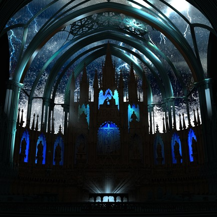 Press kit | 1089-03 - Press release | AURA Creates Awe-Inspiring Experience in the Heart of a Celebrated Historic Cathedral - Moment Factory - Multimedia Design - Aura_Process_Render - Photo credit: Moment Factory