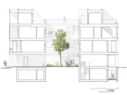 Dossier de presse | 1676-01 - Communiqué de presse | La Géode - ADHOC Architectes - Architecture résidentielle - Coupe - Crédit photo : ADHOC architectes